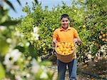 Boy showing basket full of oranges