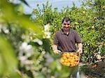 Man showing basket full of oranges