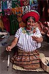 Woman spinning cotton fibers, Santiago Atitlan, Lake Atitlan, Guatemala, Central America