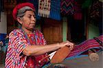 Woman weaving, Santa Catarina Palopo, Lake Atitlan, Guatemala, Central America