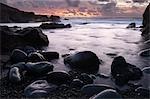 El Golfo au coucher du soleil, Lanzarote, îles Canaries, Espagne