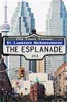Rue signe et Cityscape, Toronto, Ontario, Canada