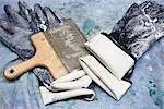 Usine de revêtement tissu, gants de caoutchouc et raclette