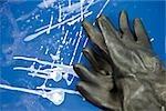 Usine de tissu enduit, paire de gants en caoutchouc