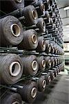 Fabric coating plant, weaving department, unwinding creel
