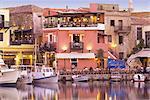 Rethymnon vieux port et ses restaurants, île de Crète, îles grecques, Grèce, Europe