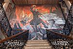 Peintures murales du héros révolutionnaire Jose Maria Morelos, peint par Agustin Cardenas dans le Palicio de Justica, Morelia, Michoacan, au Mexique, l'Amérique du Nord
