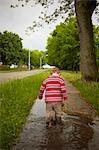 Boy Walking through Puddles, Stratford, Ontario