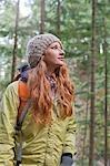 Young Woman Hiking in Columbia River Gorge, near Portland. Oregon, USA