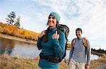 Couple Hiking alongside the Deschutes River, Oregon, USA
