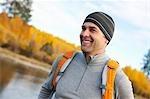 Man Hiking alongside Deschutes River, Oregon, USA