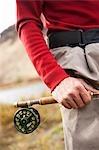 Man Going Fly Fishing on Deschutes River, Oregon, USA