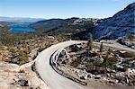 Historic Highway at Donner Summit in High Sierra, near Lake Tahoe, California, USA