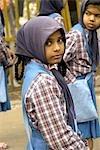 Inde, New Delhi, jeune indien lors de l'anniversaire du martyr de Guru Tegh Baradur.