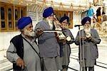 India, Punjab, Amritsar, the Golden Temple, musicians.
