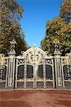 England, London, Buckingham palace, gates of Green Park