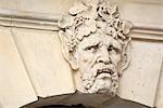 France, Paris, place Vendome, detail of a sculpted face