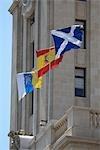 Spain, Canary islands, Tenerife, Santa Cruz, Torre del Cabildo, flags