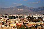 Chypre, Nicosie, peint le drapeau sur la montagne