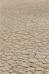 Surface fissurée du lit de lac asséché