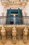 Balcon baroque, Palazzo Nicolaci, Noto, Sicile, Italie, Europe