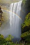Rainbow Over Skogafoss Waterfall, Skogar, South Iceland, Iceland