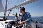 Équipe bordelais sur yacht