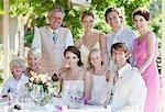 Family enjoying wedding reception