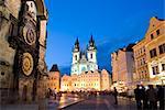 Horloge astronomique, la vieille ville et l'église de notre dame avant Tyn, Old Town, Prague, République tchèque, Europe