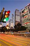 Bank of China and Hong Kong and Shanghai Bank illuminated at dusk, Statue Square in the financial district of Central, Hong Kong Island, Hong Kong, China, Asia