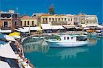 Vieux port et ses restaurants, Rethymnon, Crète, Grèce, îles grecques, l'Europe