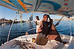 Felouque sur le Nil à Assouan, en Égypte, en Afrique du Nord, Afrique