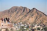 Vue de Jaipur de Amber Fort Palace, Jaipur, Rajasthan, Inde, Asie