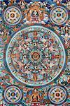 Mandala on a Tibetan thangka, Bhaktapur, Nepal, Asia