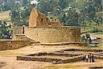 Zeremoniell Plaza und der einzigartigen elliptischen Struktur der Tempel der Sonne, die klassischen Inka weniger Mörtel-Mauerwerk, an Ecuadors wichtigste Inka-Stätte, Ingapirca, Canar Provinz, Southern Highlands, Ecuador, Südamerika aufweist.