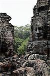 Pierre sculpture de visage de Bouddha, Angkor Wat au Cambodge