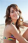 Close-up Portrait of Young Woman on Beach, Zuma Beach, California, USA