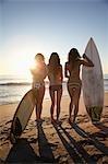 Young Women Standing on Beach with Surfboards, Zuma Beach, California, USA