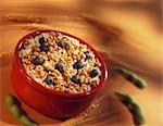 Bol de céréales avec des bleuets