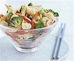 Stir-fried vegetables in glass bowl