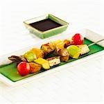 Brochettes de légumes à la sauce de soja