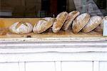 Loaves of Bread in a Bakery Window