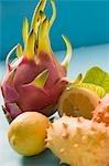 Lemons, pitahaya and horned melons