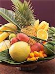 Still life: exotic fruit in wooden bowl (detail)