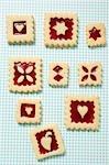 Neuf biscuits carrés confiture