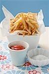 Puces avec du ketchup et du sel