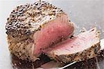 Peppered steak, a slice cut off