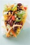 Taco mit Gemüse-Füllung auf Papier Serviette