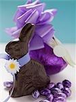 Schokoladenhasen und Schokoladeneier Ostern in lila Folie