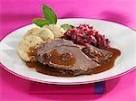 Sauerbraten (pot roast) with red cabbage & napkin dumplings